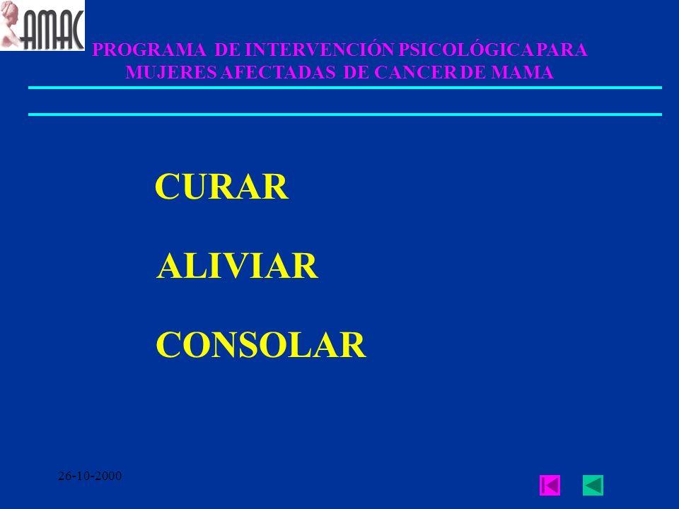 26-10-2000 PROGRAMA DE INTERVENCIÓN PSICOLÓGICA PARA MUJERES AFECTADAS DE CANCER DE MAMA CURAR ALIVIAR CONSOLAR