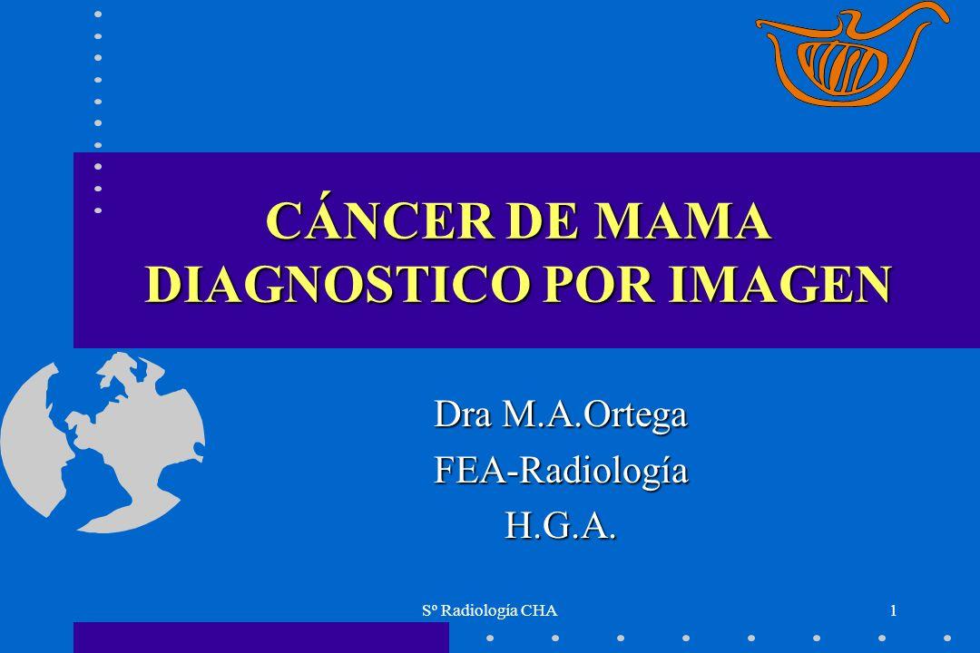 Sº Radiología CHA2 CÁNCER DE MAMA El carcinoma más frecuente en la mujerEl carcinoma más frecuente en la mujer No es posible la prevención actualNo es posible la prevención actual Estrategia : detección temprana / tratamiento adecuadoEstrategia : detección temprana / tratamiento adecuado Finalidad : mediante MRX de detección disminuir el tamaño y estadiaje, y reducir la mortalidadFinalidad : mediante MRX de detección disminuir el tamaño y estadiaje, y reducir la mortalidad