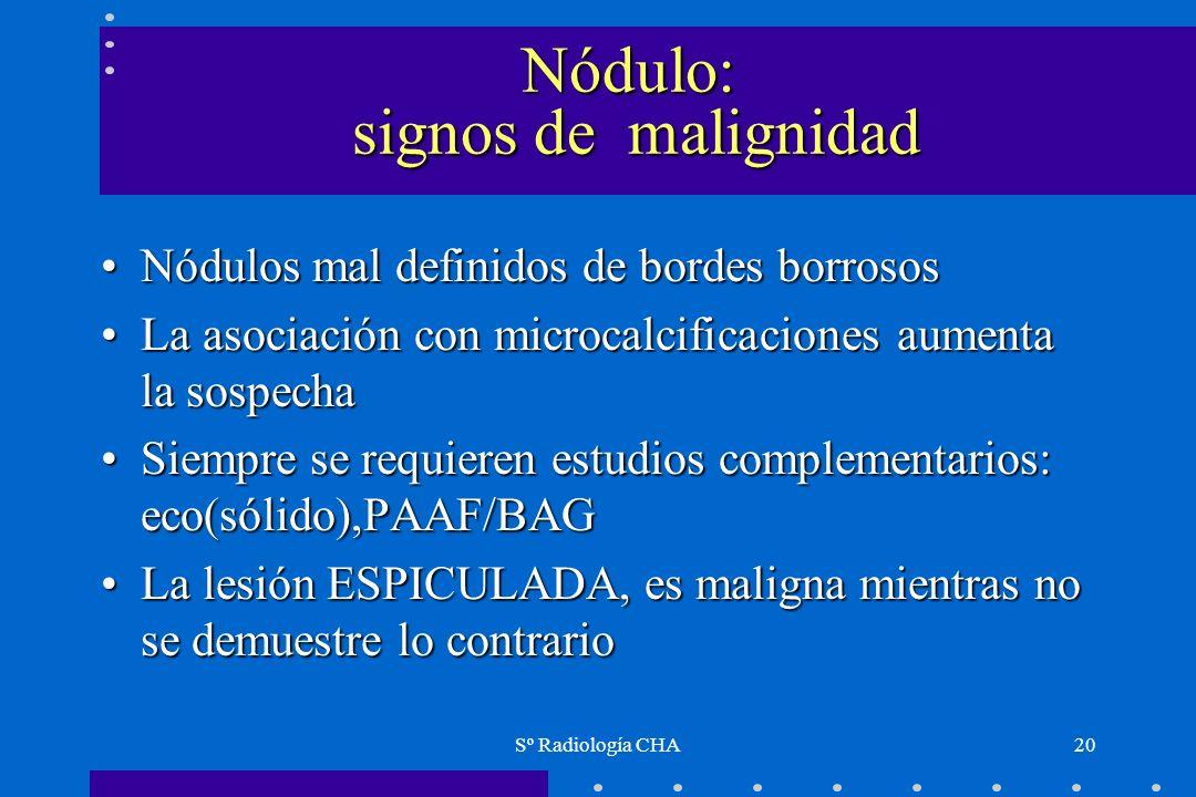 Sº Radiología CHA20 Nódulo: signos de malignidad Nódulos mal definidos de bordes borrososNódulos mal definidos de bordes borrosos La asociación con mi