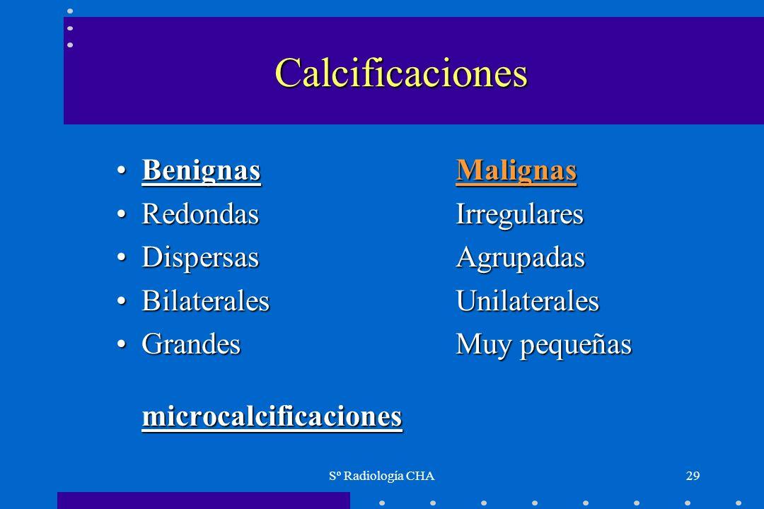 Sº Radiología CHA29 Calcificaciones BenignasMalignasBenignasMalignas Redondas IrregularesRedondas Irregulares DispersasAgrupadasDispersasAgrupadas Bil