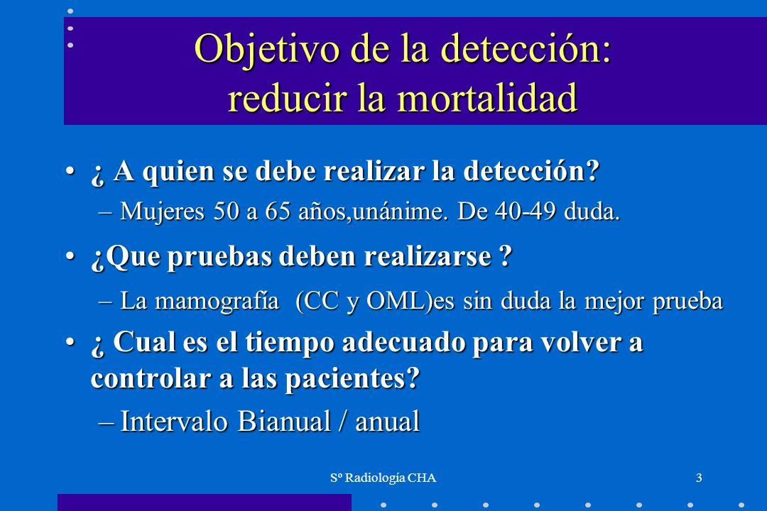 Sº Radiología CHA3 Objetivo de la detección: reducir la mortalidad ¿ A quien se debe realizar la detección?¿ A quien se debe realizar la detección? –M
