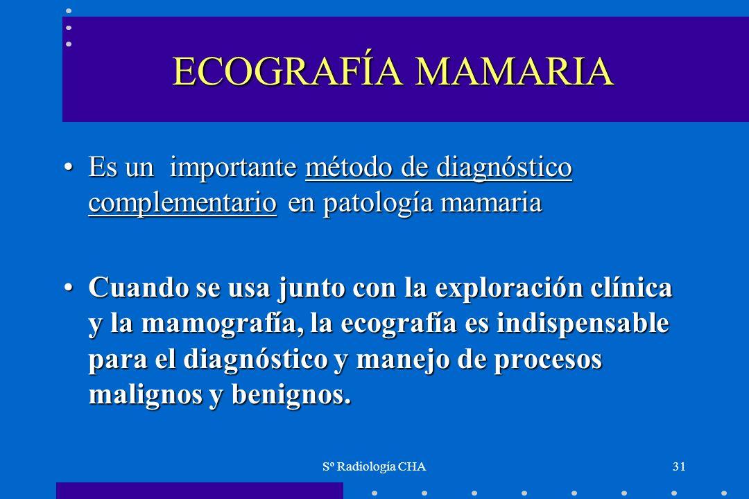 Sº Radiología CHA31 ECOGRAFÍA MAMARIA Es un importante método de diagnóstico complementario en patología mamariaEs un importante método de diagnóstico