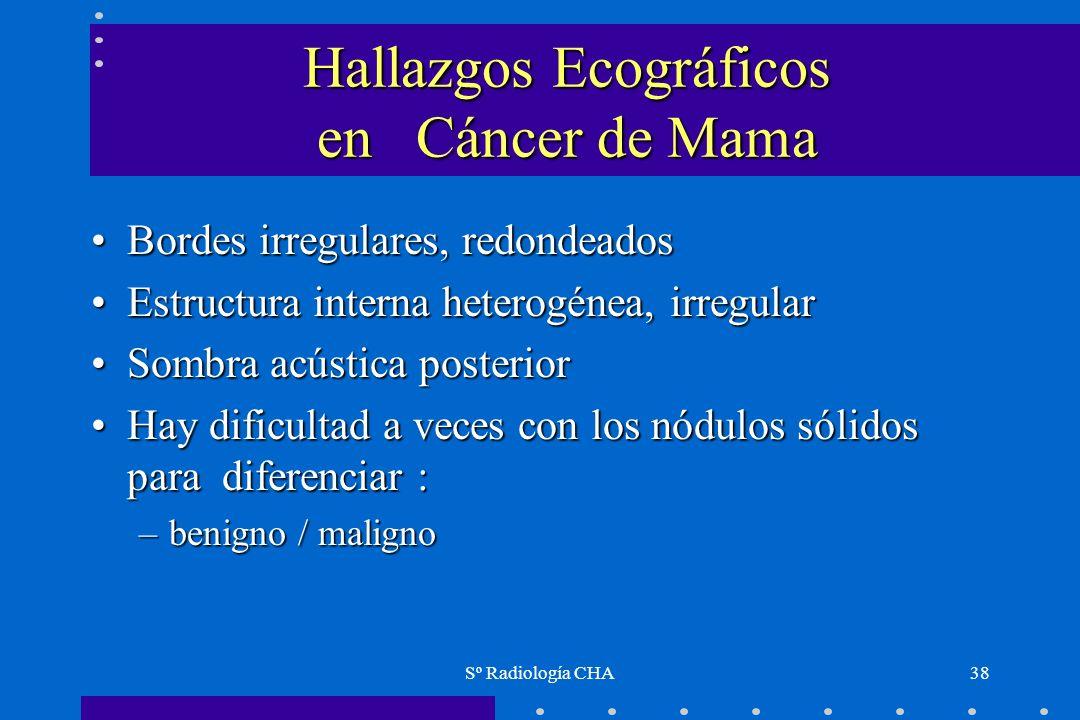 Sº Radiología CHA38 Hallazgos Ecográficos en Cáncer de Mama Bordes irregulares, redondeadosBordes irregulares, redondeados Estructura interna heterogé