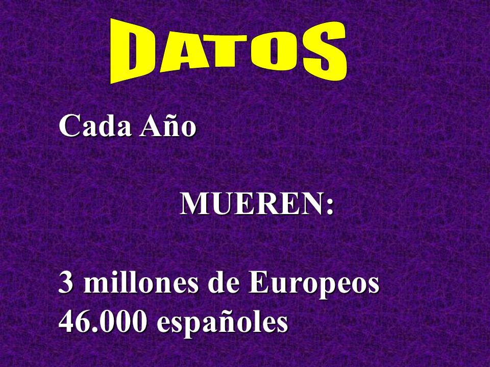 Cada Año MUEREN: 3 millones de Europeos 46.000 españoles