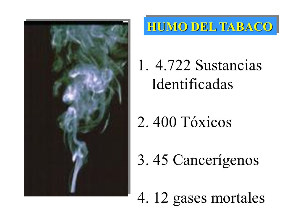 HUMO DEL TABACO 1.4.722 Sustancias Identificadas 2.