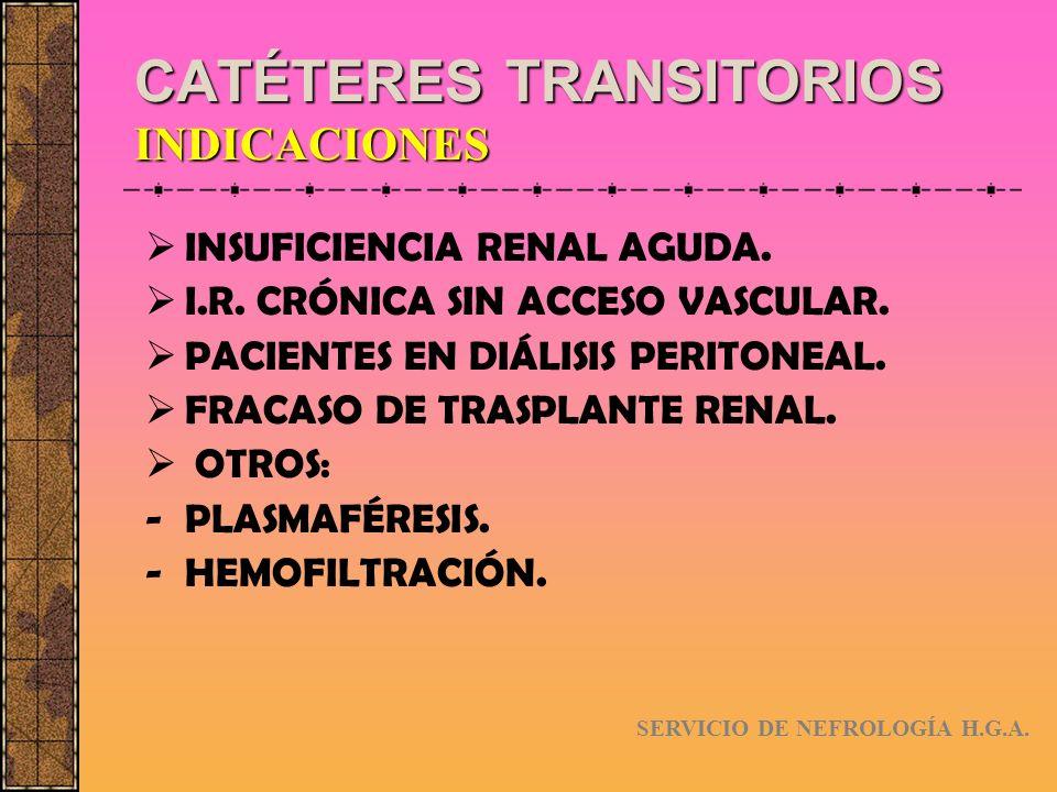 CATÉTERES TRANSITORIOS CLASIFICACIÓN SUBCLAVIA FEMORAL YUGULAR UNA SOLA LUZ (en desuso) DOBLE LUZ SERVICIO DE NEFROLOGÍA H.G.A.