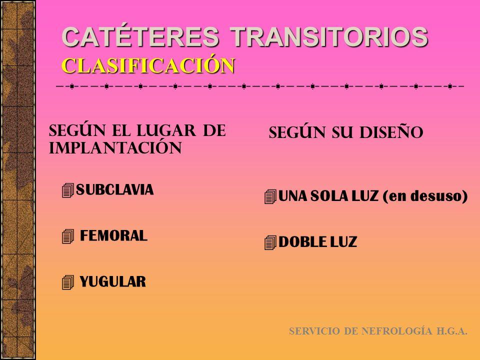 CATÉTERES TRANSITORIOS CARACTERÍSTICAS SEGÚN SU IMPLANTACIÓN SERVICIO DE NEFROLOGÍA H.G.A.