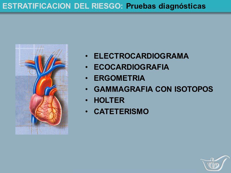 ESTRATIFICACION DEL RIESGO: Pruebas diagnósticas ELECTROCARDIOGRAMA ECOCARDIOGRAFIA ERGOMETRIA GAMMAGRAFIA CON ISOTOPOS HOLTER CATETERISMO