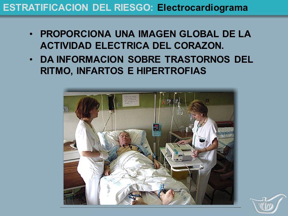 ESTRATIFICACION DEL RIESGO: Electrocardiograma PROPORCIONA UNA IMAGEN GLOBAL DE LA ACTIVIDAD ELECTRICA DEL CORAZON.