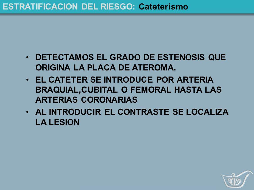 ESTRATIFICACION DEL RIESGO: Cateterismo DETECTAMOS EL GRADO DE ESTENOSIS QUE ORIGINA LA PLACA DE ATEROMA.