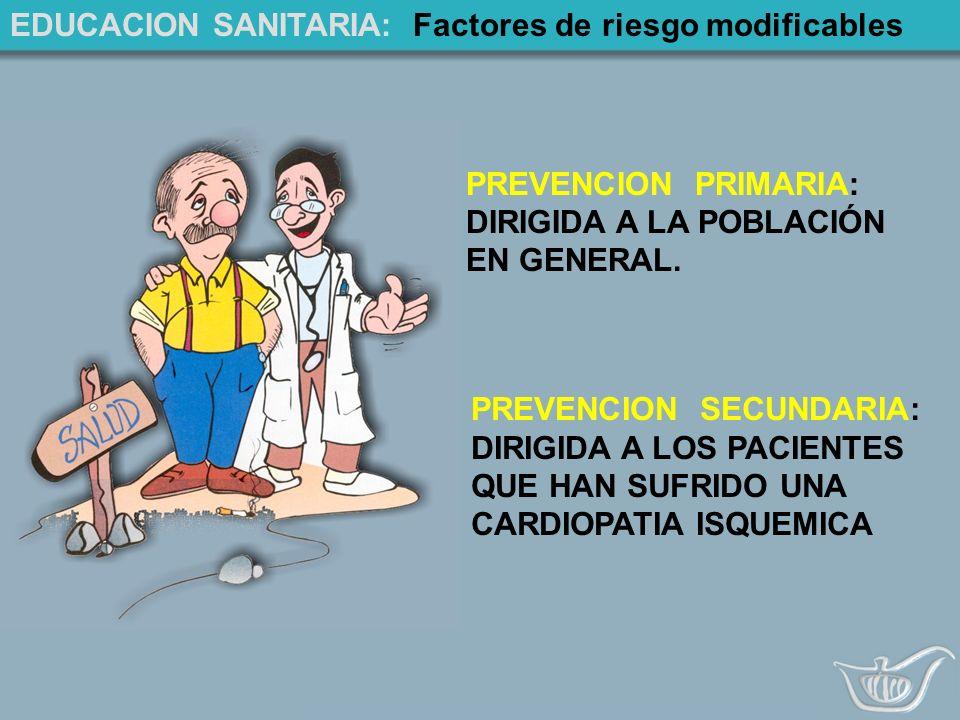 EDUCACION SANITARIA: Factores de riesgo modificables PREVENCION PRIMARIA: DIRIGIDA A LA POBLACIÓN EN GENERAL.