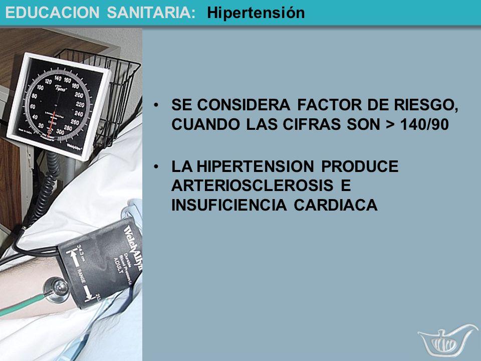 EDUCACION SANITARIA: Hipertensión SE CONSIDERA FACTOR DE RIESGO, CUANDO LAS CIFRAS SON > 140/90 LA HIPERTENSION PRODUCE ARTERIOSCLEROSIS E INSUFICIENCIA CARDIACA