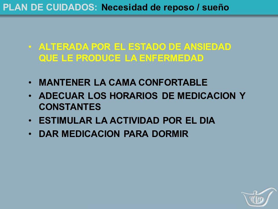 PLAN DE CUIDADOS: Necesidad de reposo / sueño ALTERADA POR EL ESTADO DE ANSIEDAD QUE LE PRODUCE LA ENFERMEDAD MANTENER LA CAMA CONFORTABLE ADECUAR LOS HORARIOS DE MEDICACION Y CONSTANTES ESTIMULAR LA ACTIVIDAD POR EL DIA DAR MEDICACION PARA DORMIR