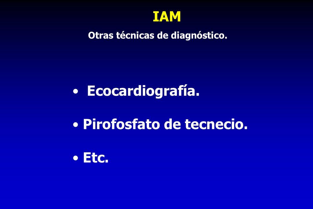 IAM Ecocardiografía. Pirofosfato de tecnecio. Etc. Otras técnicas de diagnóstico.