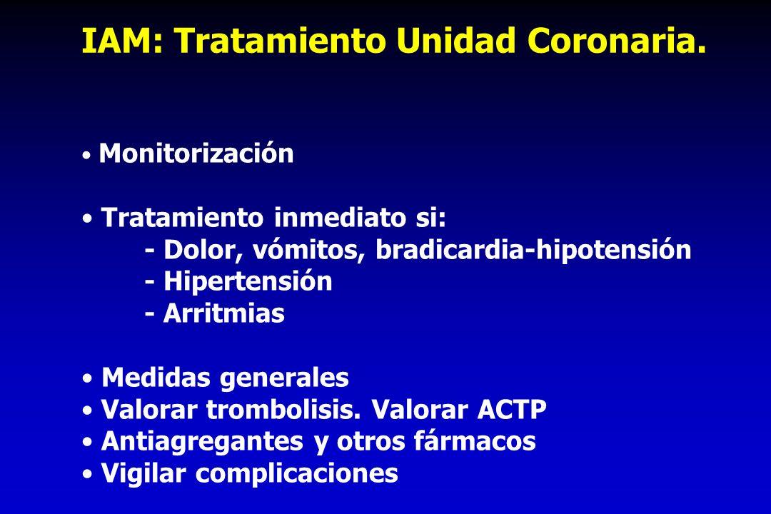 IAM: Tratamiento Unidad Coronaria. Monitorización Tratamiento inmediato si: - Dolor, vómitos, bradicardia-hipotensión - Hipertensión - Arritmias Medid