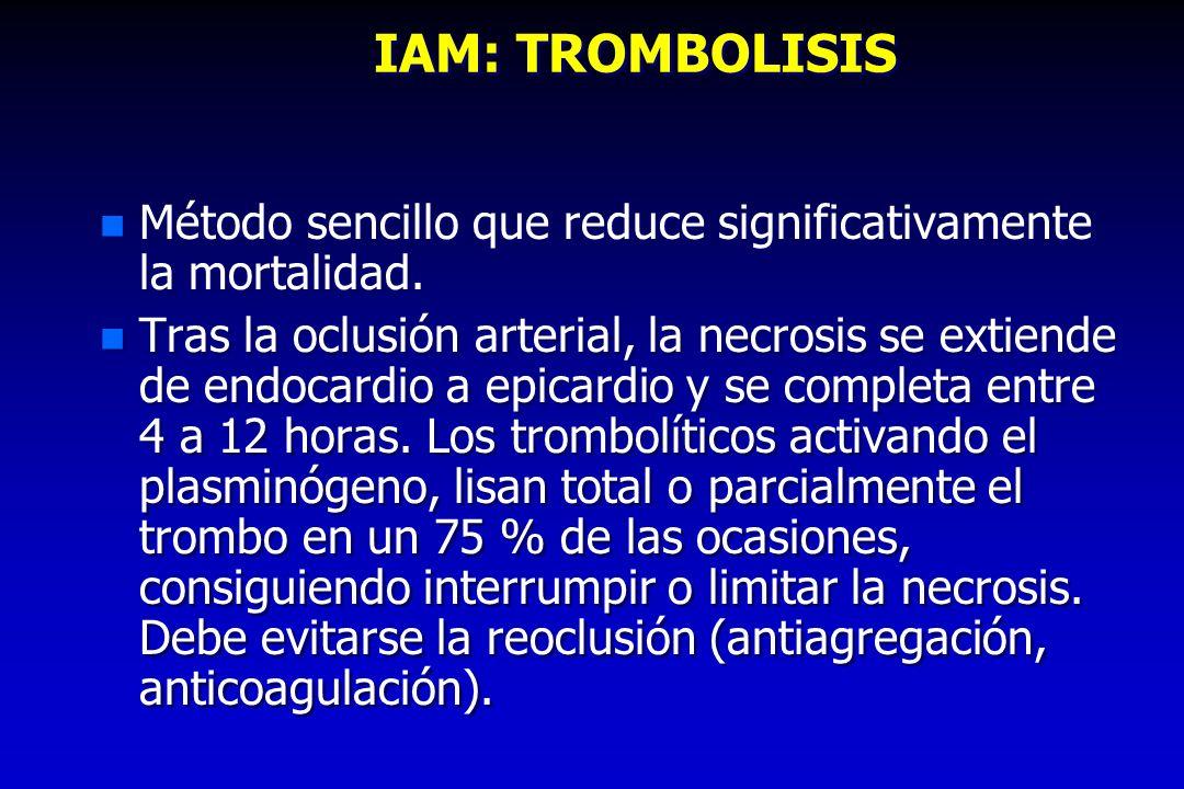 IAM: TROMBOLISIS n Método sencillo que reduce significativamente la mortalidad. n Tras la oclusión arterial, la necrosis se extiende de endocardio a e