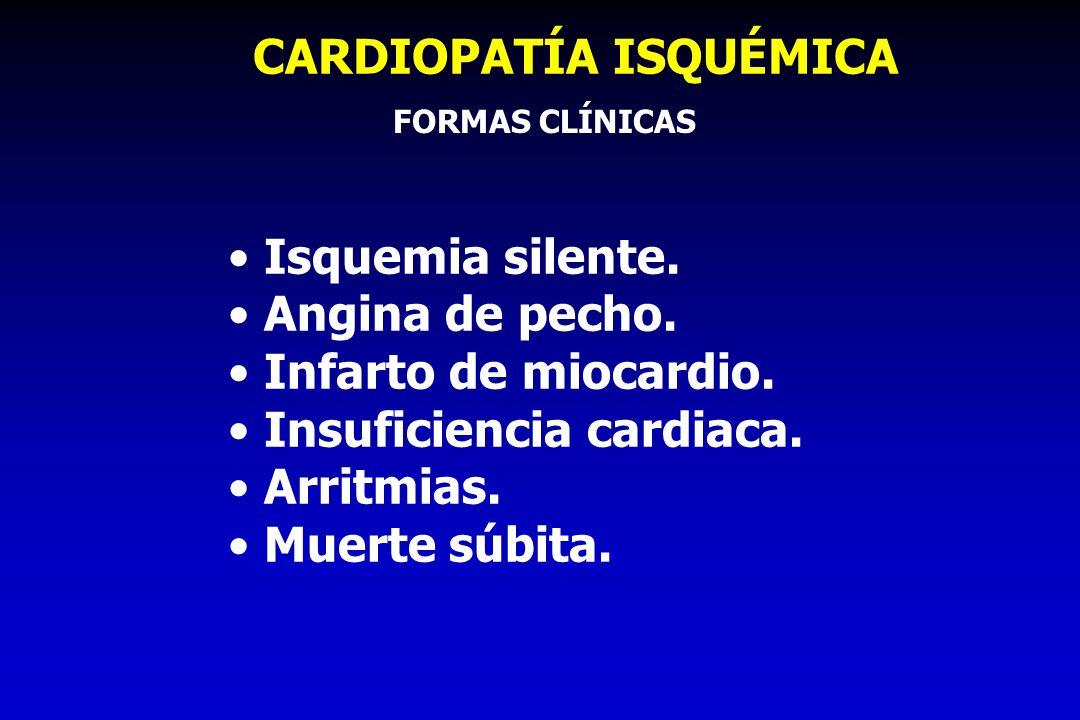 CARDIOPATÍA ISQUÉMICA Isquemia silente. Angina de pecho. Infarto de miocardio. Insuficiencia cardiaca. Arritmias. Muerte súbita. FORMAS CLÍNICAS