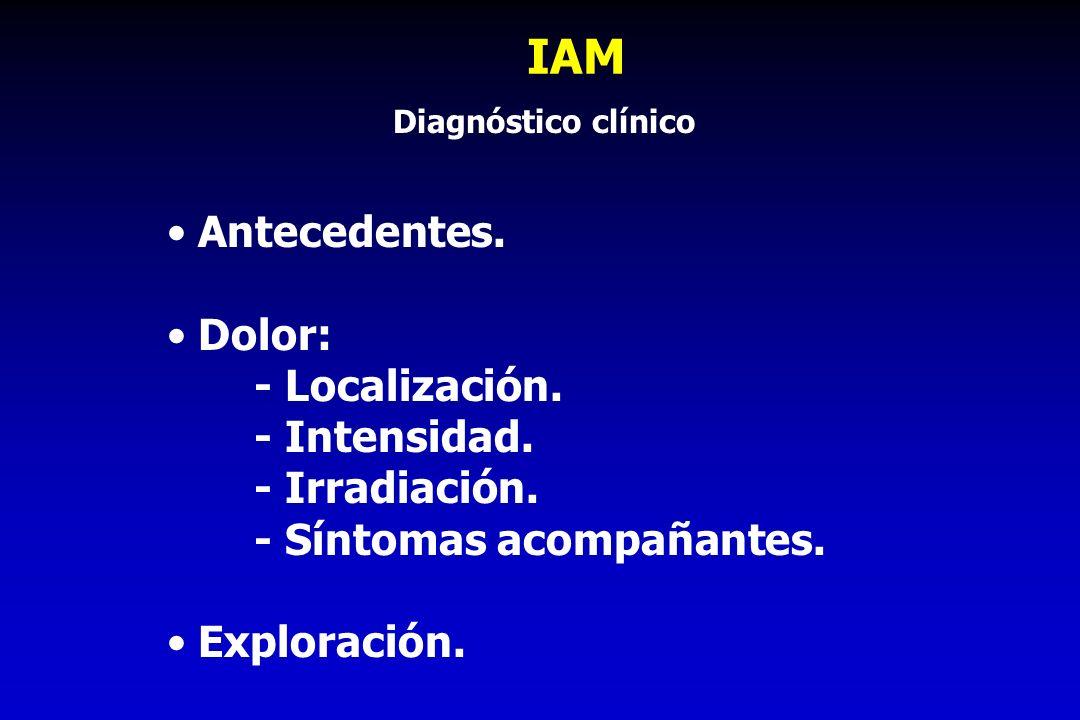 IAM Antecedentes. Dolor: - Localización. - Intensidad. - Irradiación. - Síntomas acompañantes. Exploración. Diagnóstico clínico