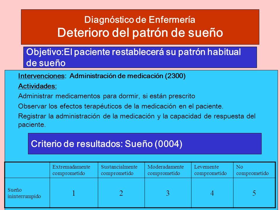 Diagnóstico de Enfermería Deterioro del patrón de sueño Intervenciones: Administración de medicación (2300) Actividades: Administrar medicamentos para dormir, si están prescrito Observar los efectos terapéuticos de la medicación en el paciente.