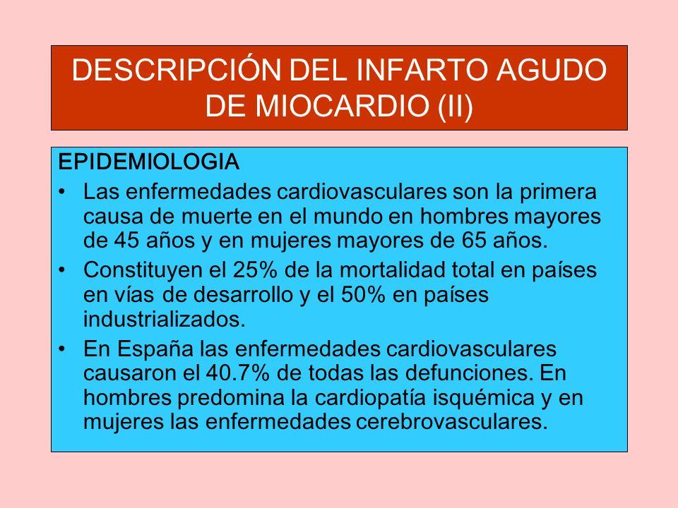 DESCRIPCIÓN DEL INFARTO AGUDO DE MIOCARDIO (II) EPIDEMIOLOGIA Las enfermedades cardiovasculares son la primera causa de muerte en el mundo en hombres mayores de 45 años y en mujeres mayores de 65 años.