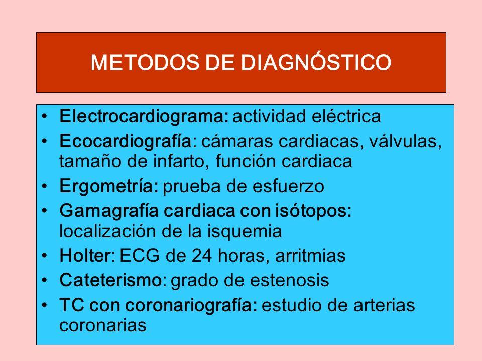 METODOS DE DIAGNÓSTICO Electrocardiograma: actividad eléctrica Ecocardiografía: cámaras cardiacas, válvulas, tamaño de infarto, función cardiaca Ergometría: prueba de esfuerzo Gamagrafía cardiaca con isótopos: localización de la isquemia Holter: ECG de 24 horas, arritmias Cateterismo: grado de estenosis TC con coronariografía: estudio de arterias coronarias