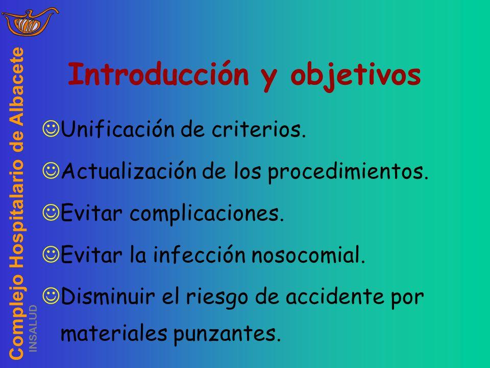 Complejo Hospitalario de Albacete INSALUD Introducción y objetivos Unificación de criterios. Actualización de los procedimientos. Evitar complicacione