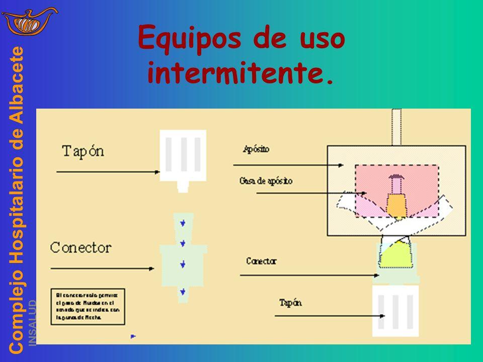Complejo Hospitalario de Albacete INSALUD Equipos de uso intermitente. Se purgará con solución de heparina sódica. No se debe desconectar. Se cambiará