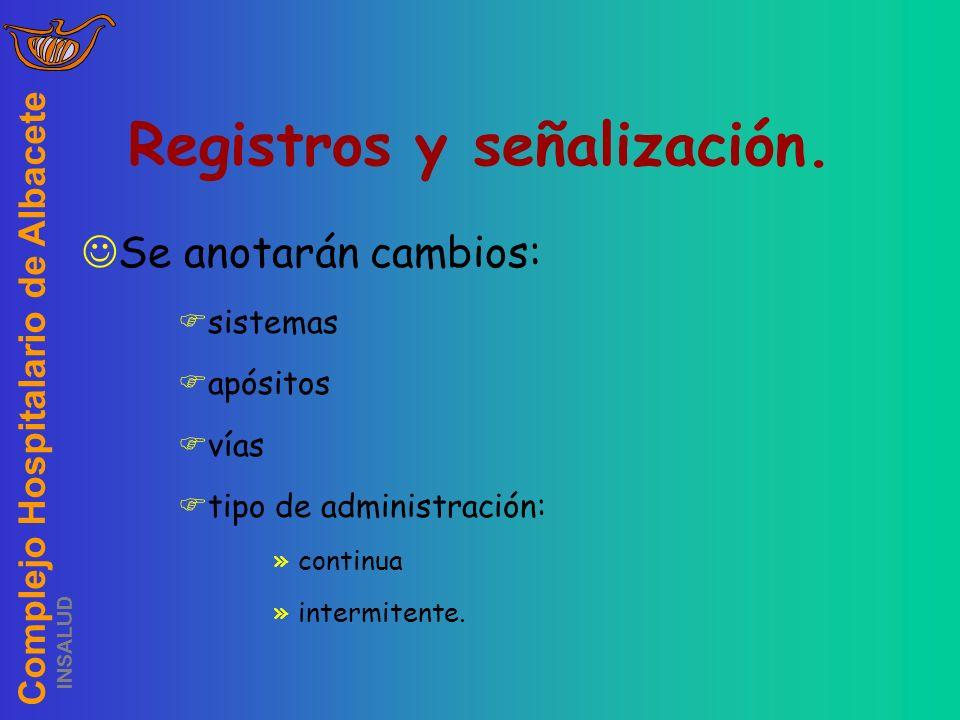 Complejo Hospitalario de Albacete INSALUD Registros y señalización. Se anotarán cambios: sistemas apósitos vías tipo de administración: »continua »int