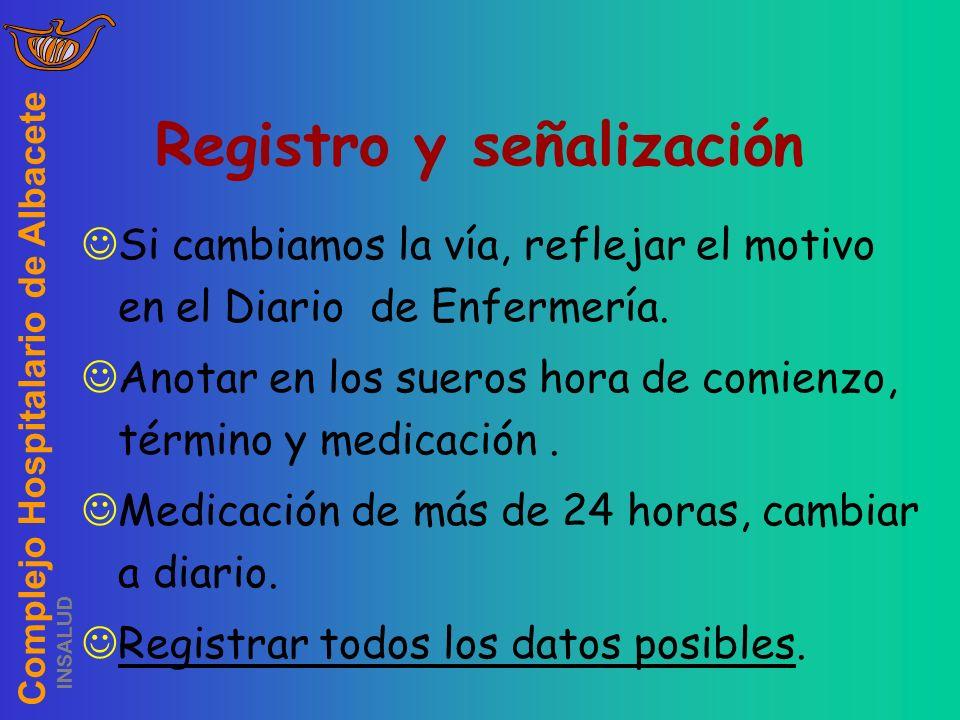Complejo Hospitalario de Albacete INSALUD Registro y señalización Si cambiamos la vía, reflejar el motivo en el Diario de Enfermería. Anotar en los su