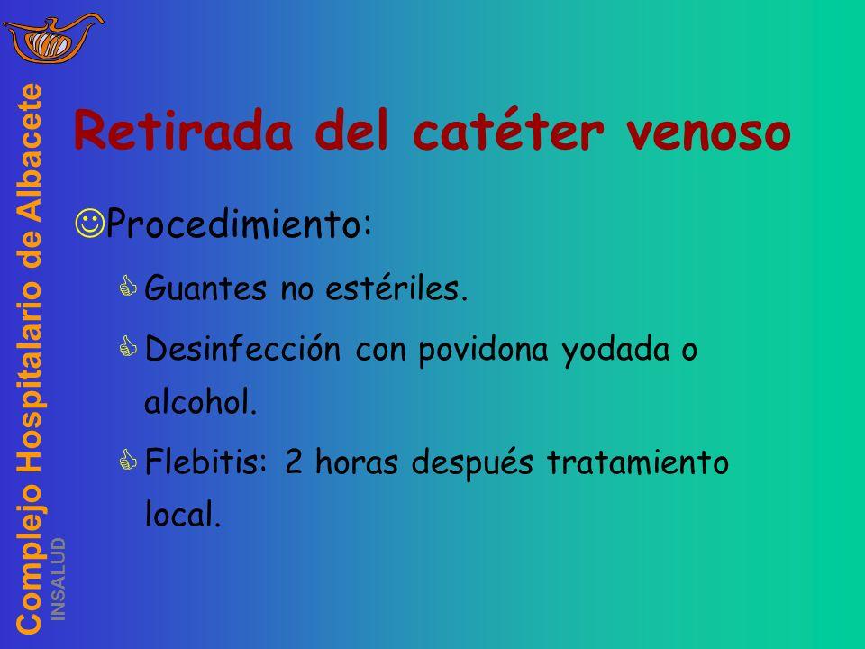 Complejo Hospitalario de Albacete INSALUD Retirada del catéter venoso Procedimiento: Guantes no estériles. Desinfección con povidona yodada o alcohol.
