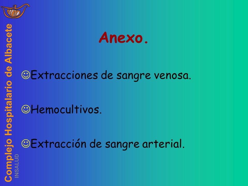 Complejo Hospitalario de Albacete INSALUD Anexo. Extracciones de sangre venosa. Hemocultivos. Extracción de sangre arterial.