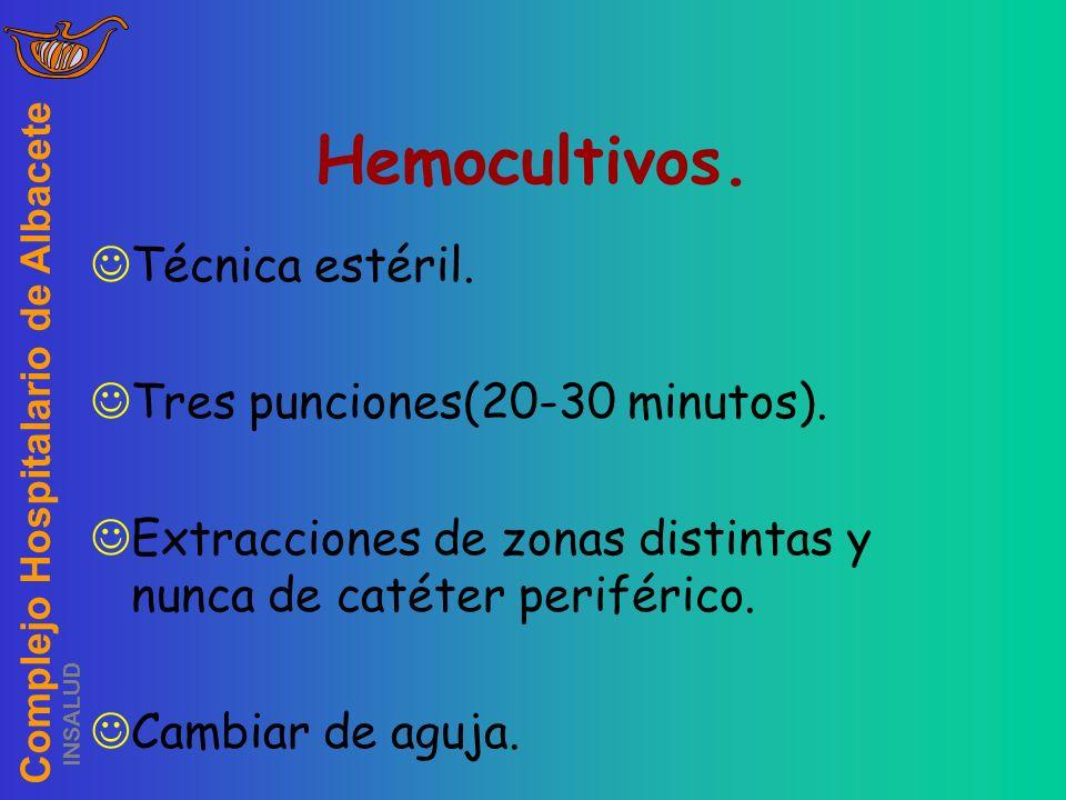 Complejo Hospitalario de Albacete INSALUD Hemocultivos. Técnica estéril. Tres punciones(20-30 minutos). Extracciones de zonas distintas y nunca de cat