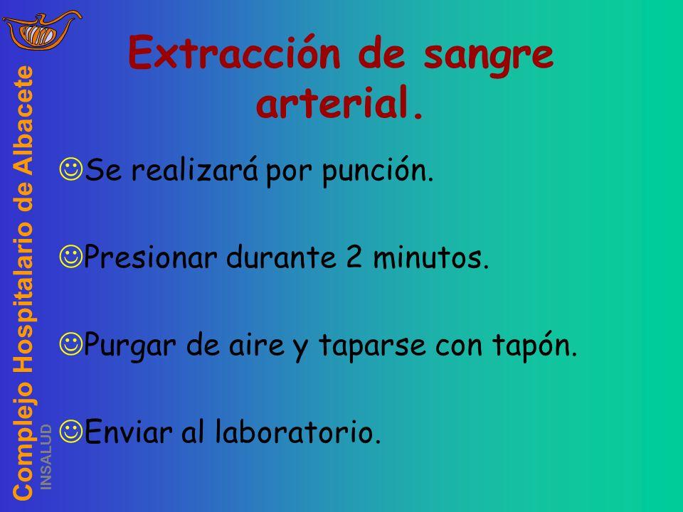 Complejo Hospitalario de Albacete INSALUD Extracción de sangre arterial. Se realizará por punción. Presionar durante 2 minutos. Purgar de aire y tapar