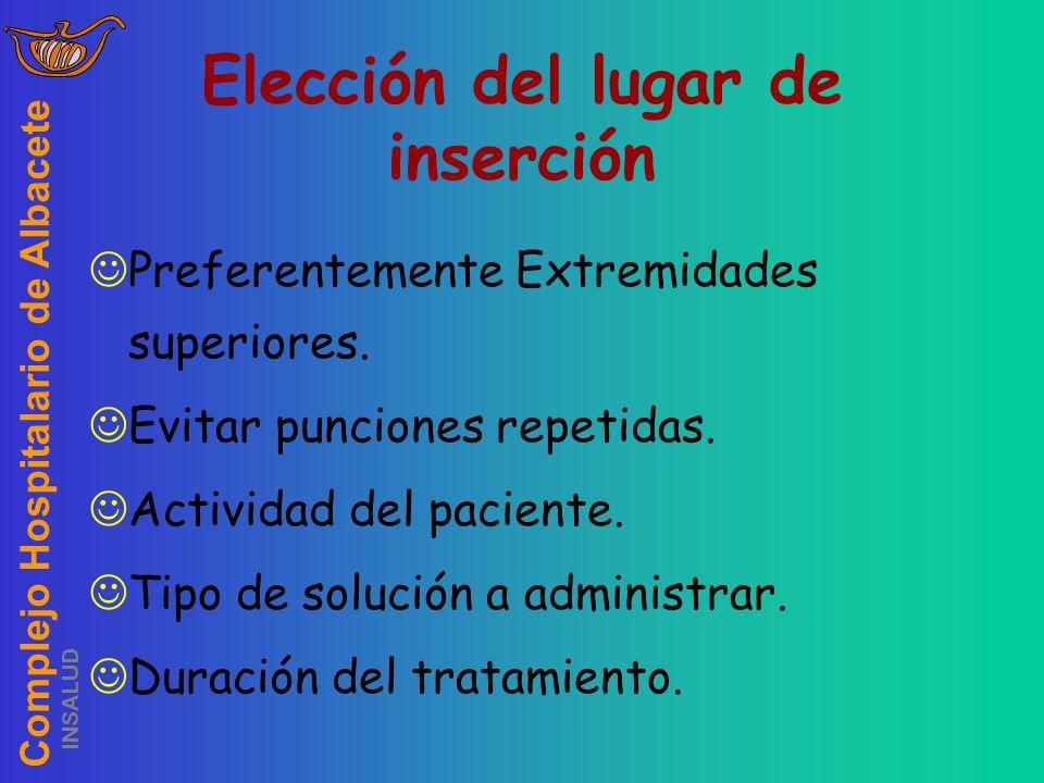 Complejo Hospitalario de Albacete INSALUD Elección del lugar de inserción Preferentemente Extremidades superiores. Evitar punciones repetidas. Activid