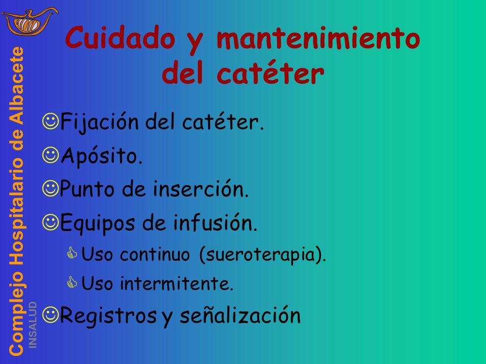 Complejo Hospitalario de Albacete INSALUD Cuidado y mantenimiento del catéter Fijación del catéter. Apósito. Punto de inserción. Equipos de infusión.