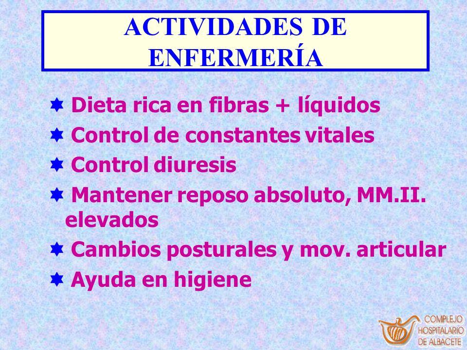 ACTIVIDADES DE ENFERMERÍA Dieta rica en fibras + líquidos Control de constantes vitales Control diuresis Mantener reposo absoluto, MM.II. elevados Cam