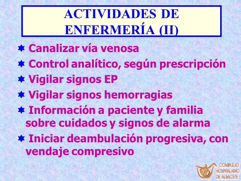 ACTIVIDADES DE ENFERMERÍA (II) Canalizar vía venosa Control analítico, según prescripción Vigilar signos EP Vigilar signos hemorragias Información a p