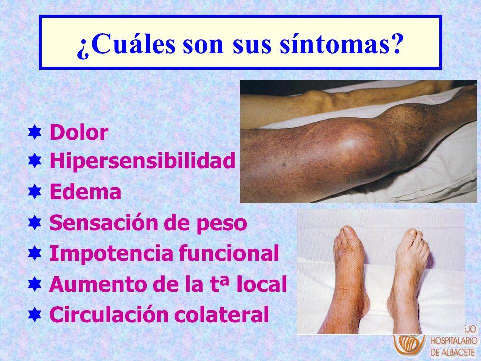 ¿Cuáles son sus síntomas? Dolor Hipersensibilidad Edema Sensación de peso Impotencia funcional Aumento de la tª local Circulación colateral
