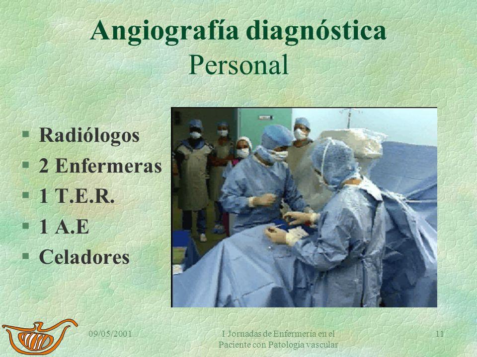 09/05/2001I Jornadas de Enfermería en el Paciente con Patología vascular 10 Angiografía diagnóstica Características de la sala. §Aparato de Rx con sus
