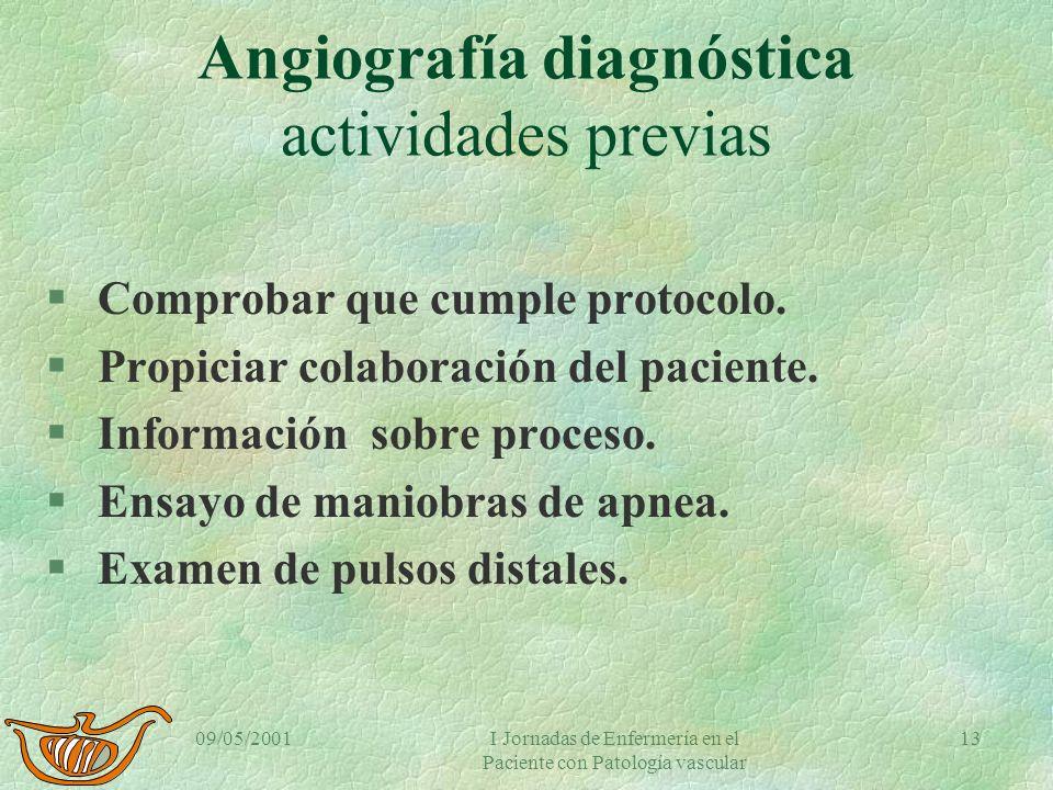 09/05/2001I Jornadas de Enfermería en el Paciente con Patología vascular 12 Angiografía diagnóstica. Objetivos de Enfermería §Realización segura y efi