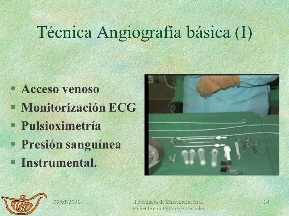 09/05/2001I Jornadas de Enfermería en el Paciente con Patología vascular 13 Angiografía diagnóstica actividades previas § Comprobar que cumple protoco