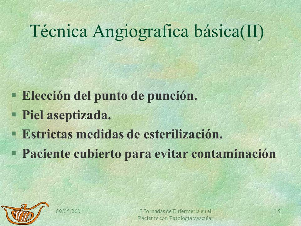 09/05/2001I Jornadas de Enfermería en el Paciente con Patología vascular 14 Técnica Angiografía básica (I) §Acceso venoso §Monitorización ECG §Pulsiox