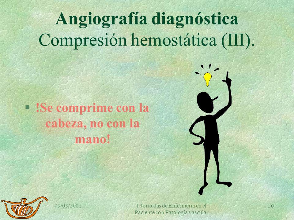 09/05/2001I Jornadas de Enfermería en el Paciente con Patología vascular 25 Angiografía diagnóstica Compresión hemostática (II). §Si sangra repetir ha