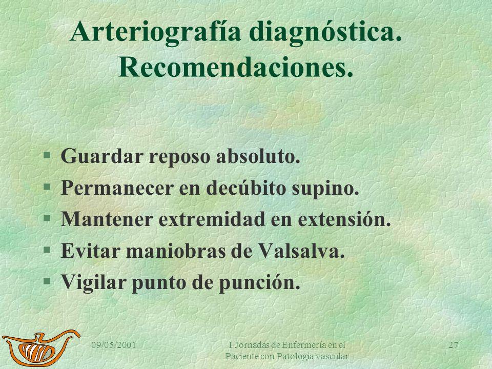 09/05/2001I Jornadas de Enfermería en el Paciente con Patología vascular 26 Angiografía diagnóstica Compresión hemostática (III). §!Se comprime con la