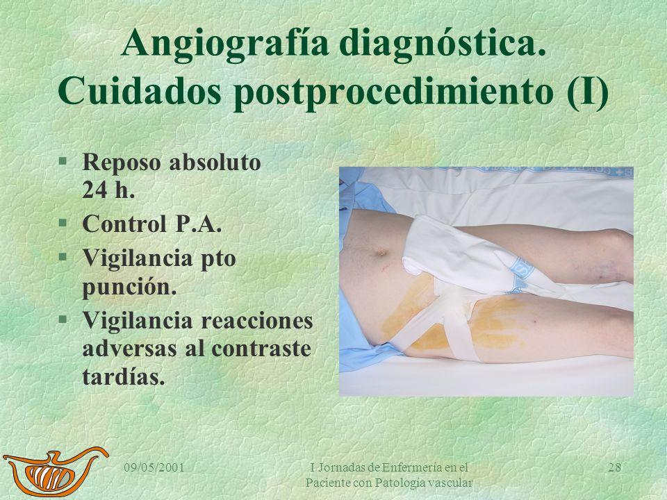 09/05/2001I Jornadas de Enfermería en el Paciente con Patología vascular 27 Arteriografía diagnóstica. Recomendaciones. §Guardar reposo absoluto. §Per
