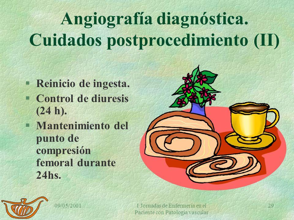 09/05/2001I Jornadas de Enfermería en el Paciente con Patología vascular 28 Angiografía diagnóstica. Cuidados postprocedimiento (I) §Reposo absoluto 2