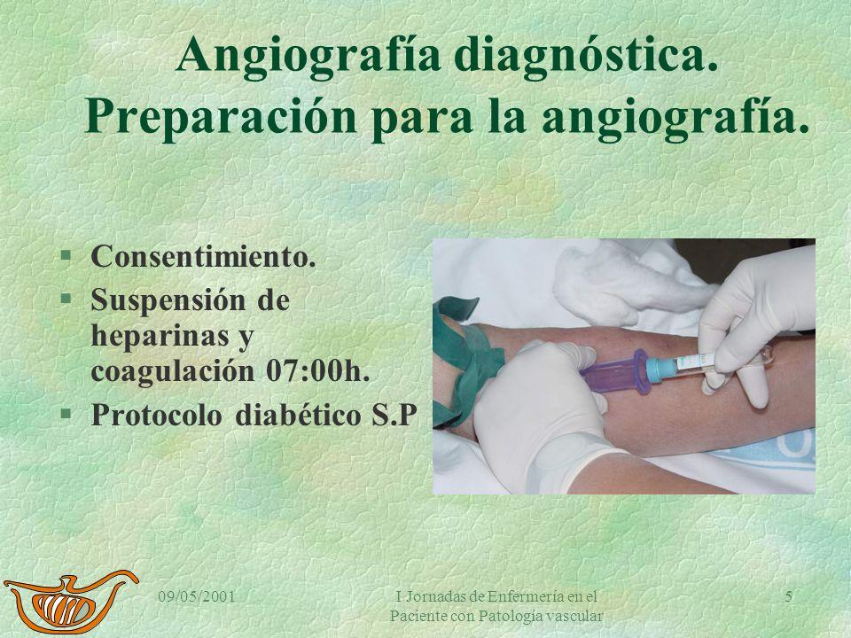 09/05/2001I Jornadas de Enfermería en el Paciente con Patología vascular 4 Angiografía diagnóstica. Preparación para la angiografía. §Analítica. §Hist