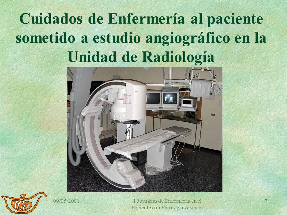 09/05/2001I Jornadas de Enfermería en el Paciente con Patología vascular 6 Flebografía diagnóstica. Preparación §Analítica. §Historia de alergias. §Du