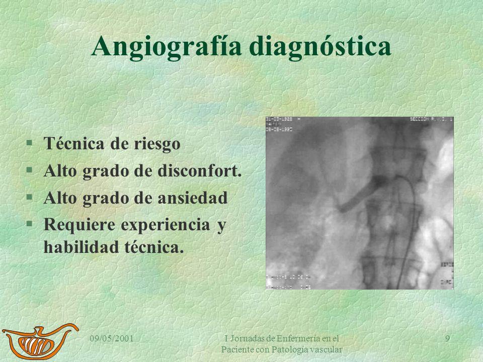 09/05/2001I Jornadas de Enfermería en el Paciente con Patología vascular 8 Angiografía diagnóstica §Prueba estándar en RX vascular §Procedimiento inva