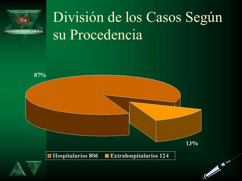 UNIDAD DE SALUD LABORAL División de los Casos Según su Procedencia